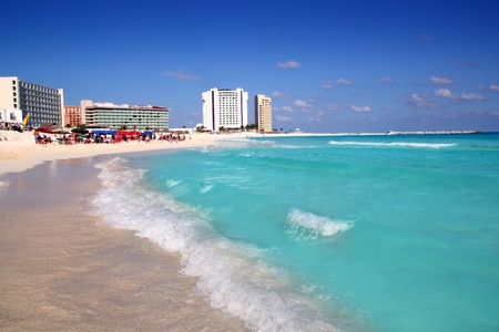 mayan riviera: Cancun caribbean sea beach shore turquoise water Stock Photo