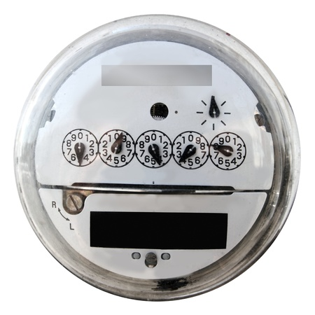 electric grid: Analog electric meter display round with glass cover