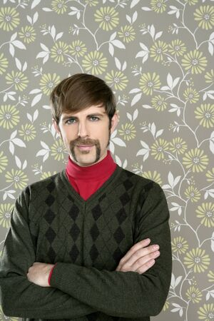 salesperson: mustache retro salesperson man geek portrait wallpaper