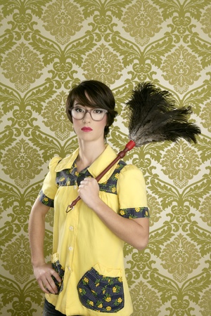 household work: housewife nerd retro woman tired of home chores on vintage wallpaper