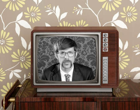 nerd retro 60s vintage tv presenter hero on wood television wallpaper photo