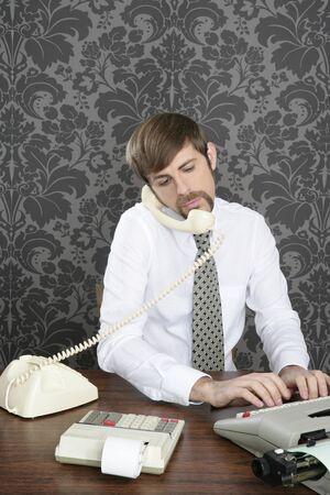 multitask: retro mustache multitask businessman office desk on vintage wallpaper Stock Photo