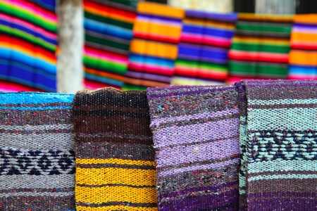 artisanry: beautiful serape mexican blanket colorful pattern Stock Photo