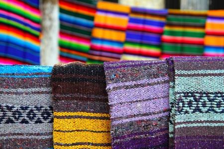artisanry: beautiful serape mexican blanket colorful pattern Stock Photo