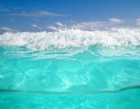 waterline caribbean sea underwater foam wave turquoise sea photo