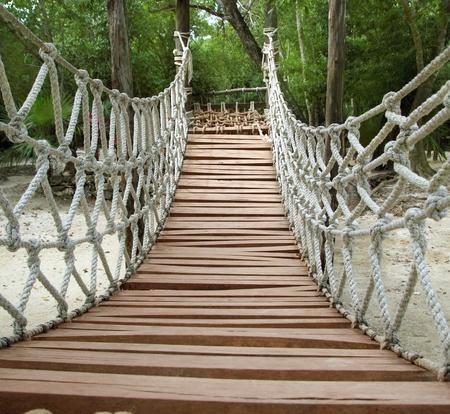 Adventure wooden rope suspension bridge in jungle rainforest photo