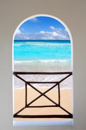seen: arch balcony white window tropical Caribbean beach seen through