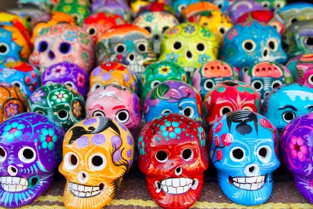 Aztec skulls Mexican Day of the Dead colorful handcrafts Stock Photo