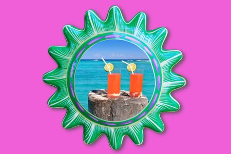 Mexican sun frame and two orange cocktail in tropical beach photo