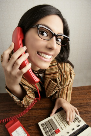 Retro secretary wide angle humor portrait talking telephone woman Stock Photo - 9031003