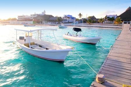 puerto: Puerto Morelos beach boats pier Mayan Riviera Mexico