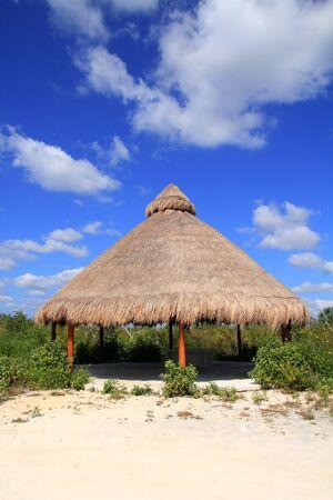 palapa: Big Palapa hut sunroof in Mexico jungle Mayan Riviera Stock Photo