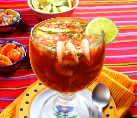 restaurant food: Cocktail of shrimps seafood mexican style chili sauce lemon Stock Photo