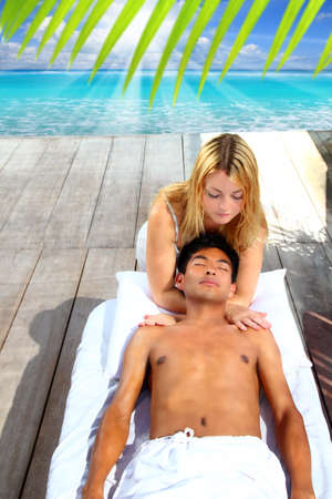 massage therapy stretch head neck outdoor Caribbean beach Stock Photo - 9128916