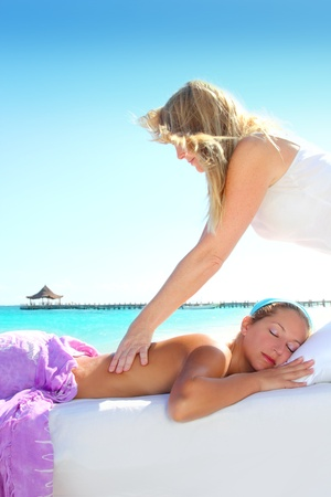 Caribbean turquoise beach chiropractic massage therapy woman  Stock Photo - 9120738