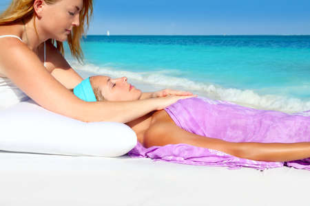 Mayan reiki massage in Caribbean beach woman vacation therapy photo