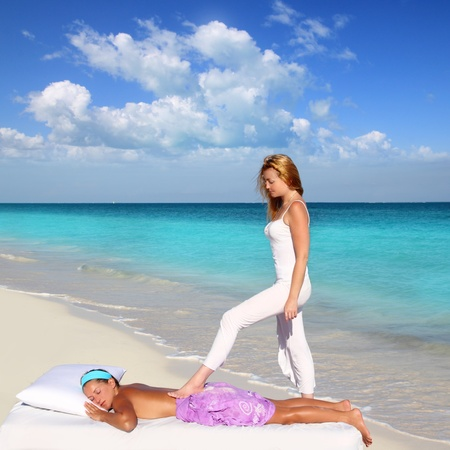 back walking shiatsu massage Caribbean beach woman paradise landscape Stock Photo - 9128838