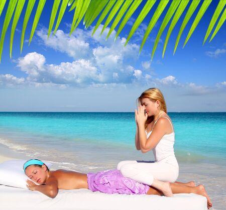 Caribbean beach massage meditation shiatsu woman in paradise Stock Photo - 9120778