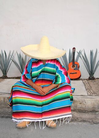 topic: Mexican lazy man sit serape agave guitar nap siesta typical topic