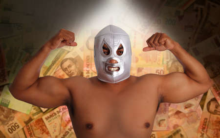 mexican wrestling mask silver fighter gesture Mexico pesos notes bet metaphor photo