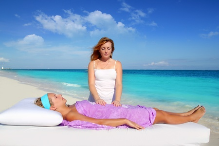 Mayan reiki massage in Caribbean beach woman vacation therapy Stock Photo - 9142527