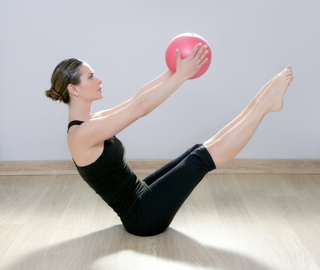 pilates woman stability ball gym fitness yoga exercises girl photo