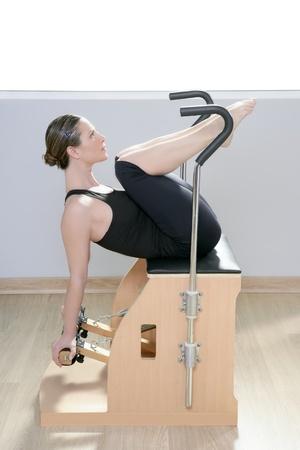 combo wunda pilates chair woman fitness yoga gym exercise photo