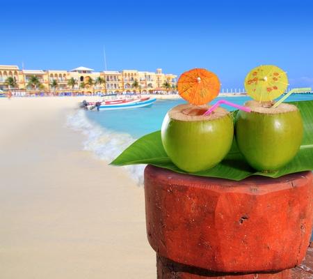 playa del Carmen mexico Mayan Riviera beach coconut cocktail straw Stock Photo