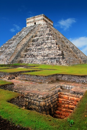 Chichen Itza Kukulcan Mayan Pyramid El Castillo over underground excavation photo