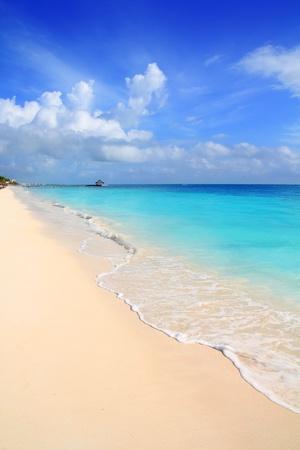 cancun: Caribbean tropical turquoise beach blue sky Mayan Riviera Mexico