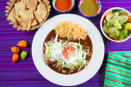 Mole enchiladas mexican food with chili sauces and nachos lemon habanero photo