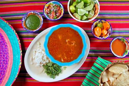 Pancita mondongo mexican soup varied chili sauces Mexico food Stock Photo