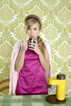 coffee retro woman vintage cup kitchen green wallpaper photo