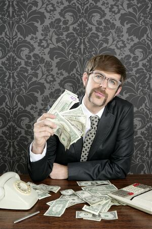 goofy: businessman nerd accountant dollar notes on vintage wallpaper office