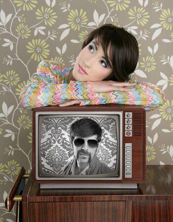 tacky: retro woman in love with tv nerd mustache hero vintage 60s wallpaper
