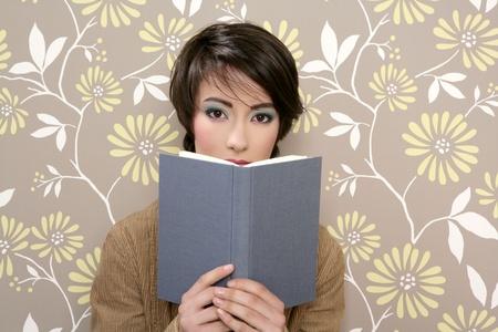 book reading shy woman retro 60s vintage wallpaper photo