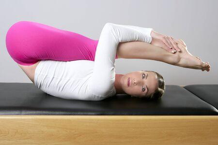 gym pilates woman reformer yoga leg sport young girl photo