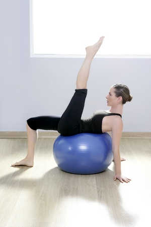pilates woman stability ball gym fitness yoga exercises girl Stock Photo - 9226871