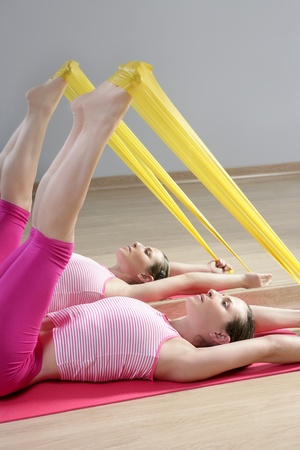 mirror pilates woman rubber resistance band fitness sport gym photo