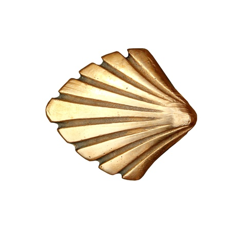 Saint James way shell golden metal on streets soil isolated on white Stock Photo - 9226928