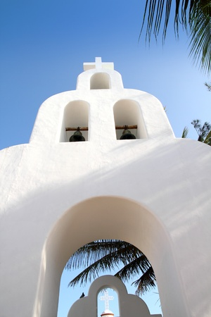 prayer tower: Playa del Carmen white Mexican church archs belfry Mayan Riviera