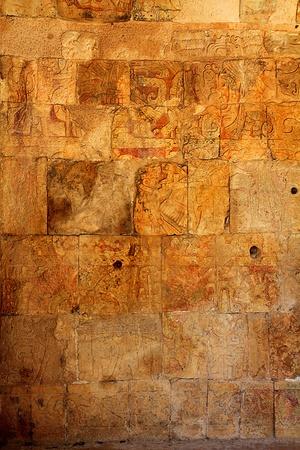 cultura maya: Chichen Itza Jaguar templo maya Yucat�n de M�xico muro de piedra