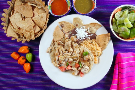 totopos: Chicken tacos Mexican style chili sauce and nachos Mexico food
