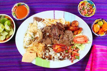 flanc: Boeuf de surlonge de flanc steak plat mexicain assortiment de sauces chili Mexique �pic� Banque d'images