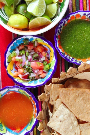 hispanics mexicans: Mexican sauces pico de gallo habanero chili sauce Mexico spices Stock Photo