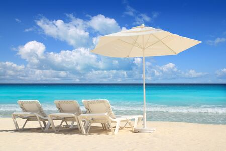 parasols: Caribbean beach parasol white umbrella and hammocks turquoise sea