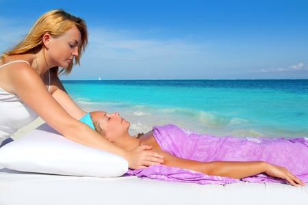 Mayan reiki massage in Caribbean beach woman vacation therapy Stock Photo - 9307546