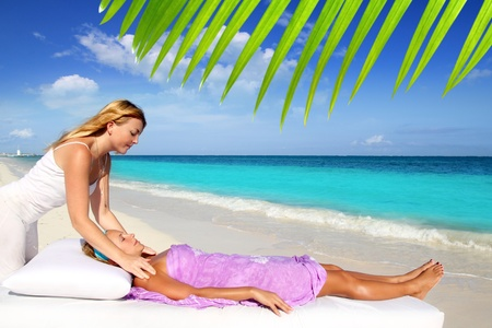 Mayan reiki massage in Caribbean beach woman vacation therapy