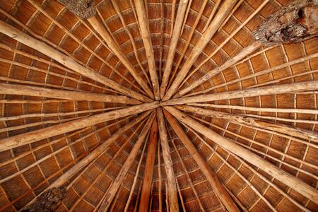 Hut palapa traditional cabin sun roof wiev from above Mexico architecture photo