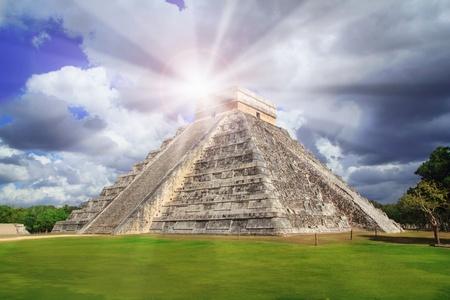 riviera maya: Chichen Itza Kukulkan Mayan pyramid sun beam Mexico Yucatan